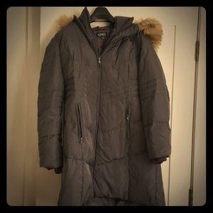 Gray down coat with fur trim hood